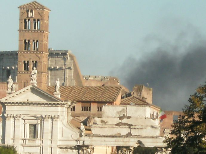 Smoke rising over Rome during the riots of October 2011