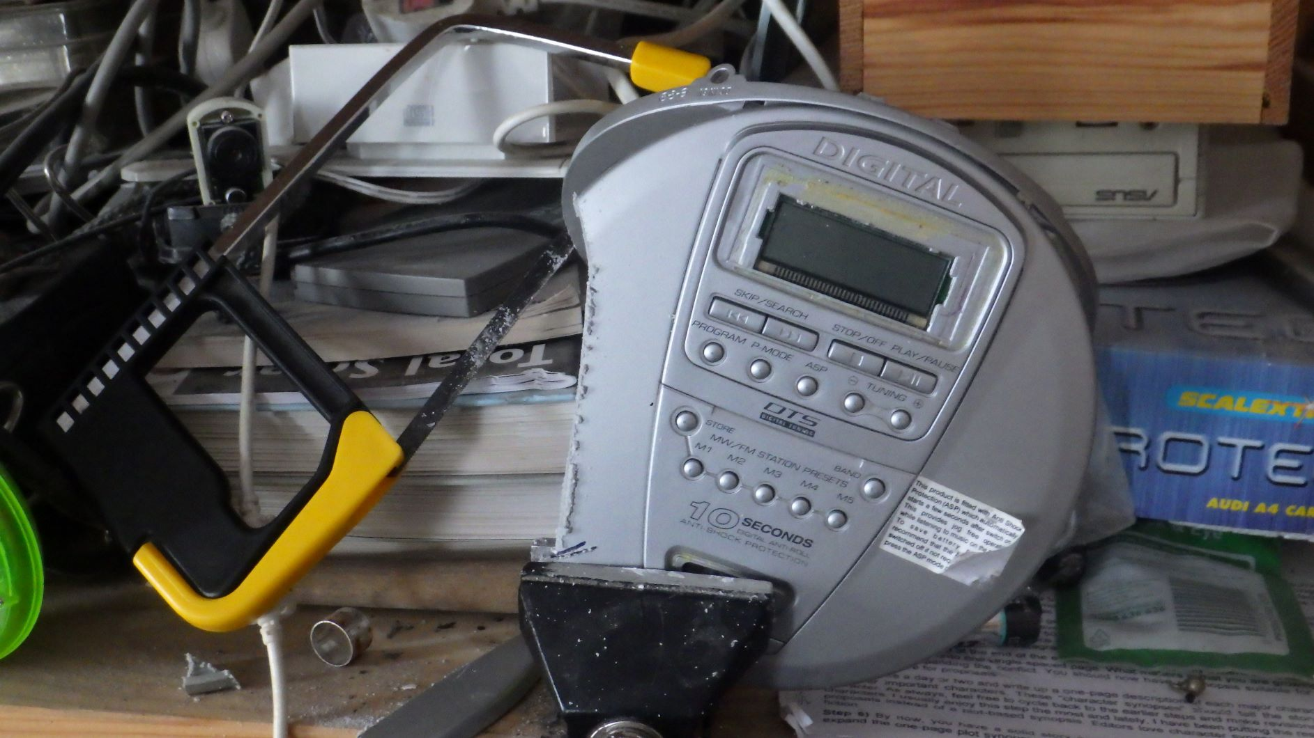 A hacked-off CD player